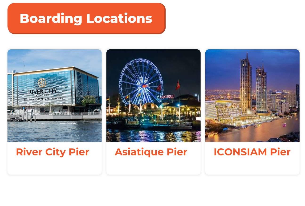 Chao Phraya Princess cruise boarding locations